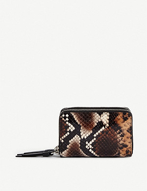 ALLSAINTS Sliver snakeskin-print leather card holder