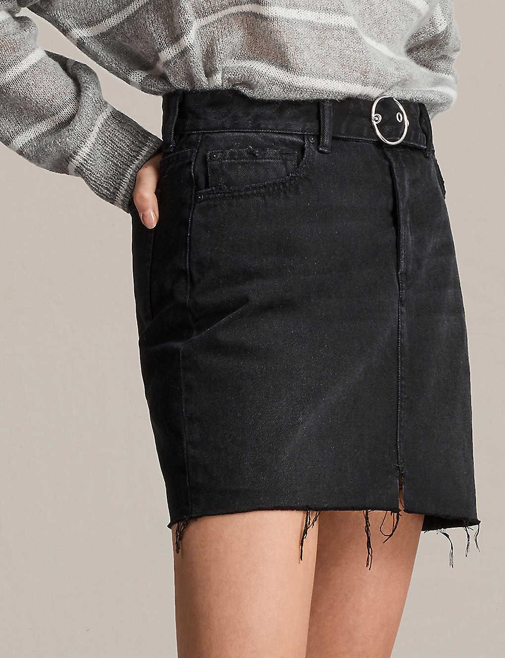 c60be42d2 ALLSAINTS - Bette frayed-hem high-rise denim mini skirt | Selfridges.com