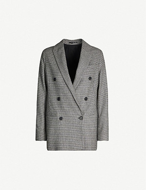 ALLSAINTS Houndstooth double-breasted wool-blend blazer