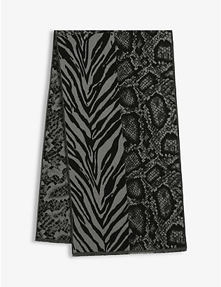 ALLSAINTS: Patchwork animal-print wool-blend scarf