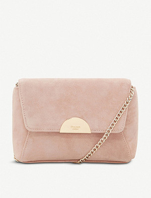DUNE Billiee suede metal-trim clutch bag