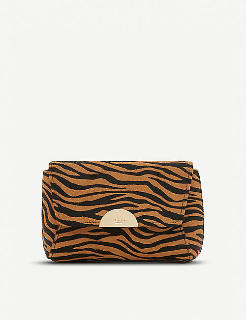 DUNE Billiee tiger-print leather clutch