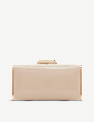 DUNE Boxiee metal frame patent faux-leather clutch bag