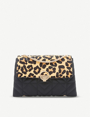 DUNE Ellenour leopard-print faux-leather shoulder bag