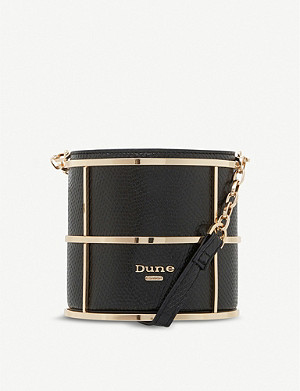 DUNE Efy gold-tone and faux-leather caged bag