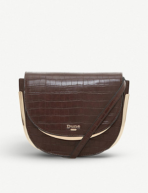 DUNE Edellie croc-embossed faux-leather saddle bag