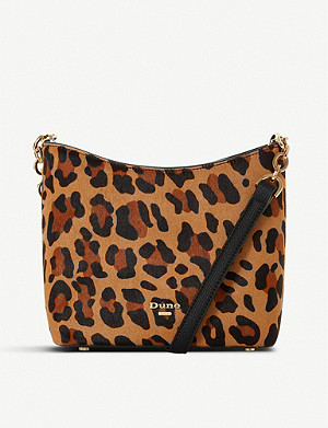 DUNE Elottie leopard-print cross body faux-leather bucket bag