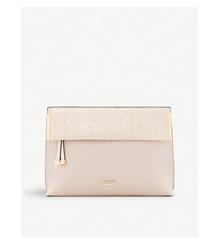 c16be41ad57 DUNE Eccles fold-over clutch bag (Blush-synthetic