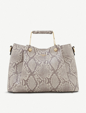 DUNE Darlow slouchy snakeskin-effect faux-leather tote