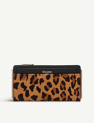 DUNE Kantelle leopard print panel leather purse with removable cardholder