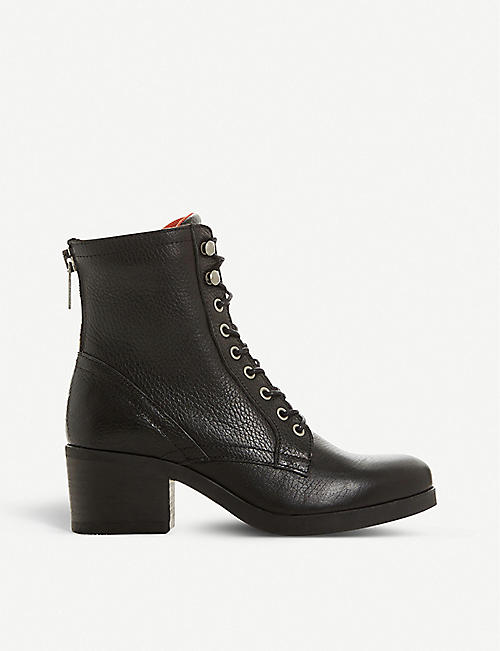 BERTIE: Painter grained-leather heeled ankle boots