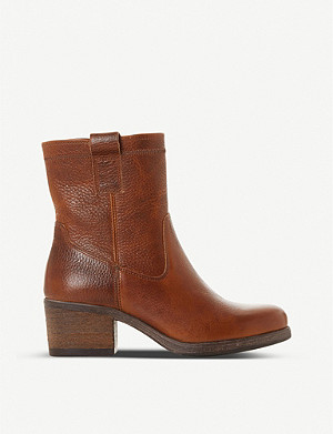 BERTIE Pacer block heel leather ankle boots