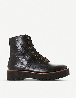 BERTIE: Paper embossed leather boots