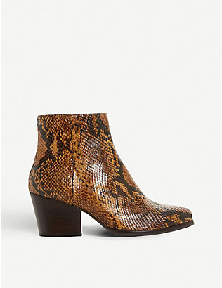 BERTIE: Poket snake-embossed leather ankle boots