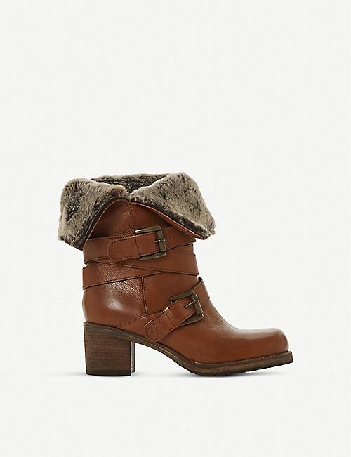 23c0b03dba7f DUNE - Roko fluffy-trimmed calf-leather boots | Selfridges.com