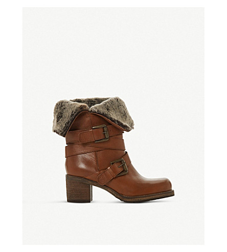 Dune ROKO FLUFFY-TRIMMED CALF-LEATHER BOOTS