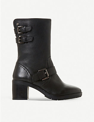 DUNE: Rileys faux-leather strapped biker boots