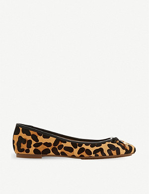 DUNE Harpar leopard-print leather ballerina pumps