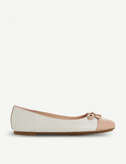 f70d217fa1f DUNE Heiress bow-detail two-tone leather ballet flats