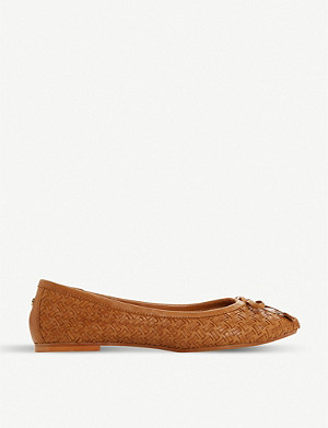 DUNE Heavenn woven leather ballerina pumps