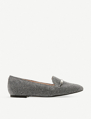 DUNE Graced saddle-trim leather loafers