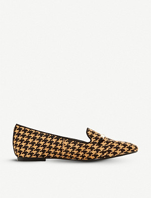 DUNE Graced saddle-trim houndstooth leather loafers