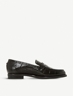 DUNE Grady crocodile-embossed leather loafers