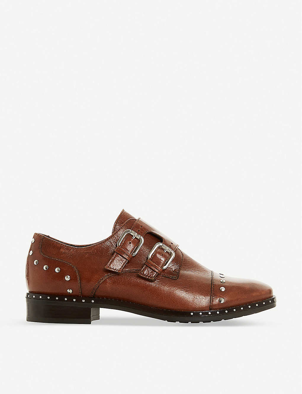 DUNE: Gryffin stud-detail leather double monk shoes
