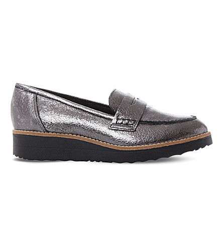 818f14ab4d3 DUNE Graphic metallic-leather flatform loafers (Pewter-metallic