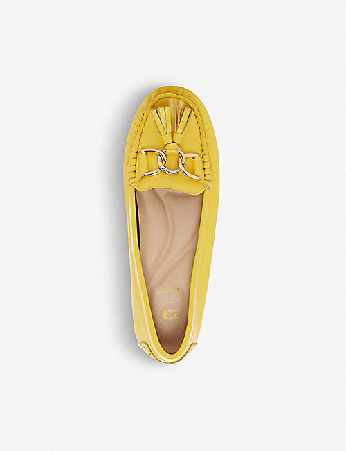 DUNE Geena chain trim leather moccasins