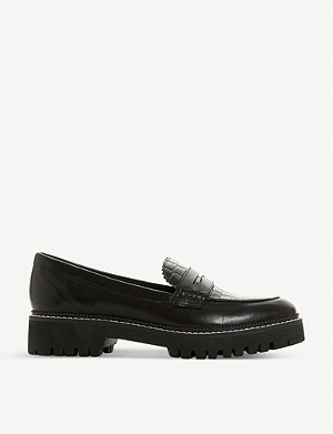 DUNE Gecho leather croc-effect loafers