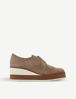 DUNE Flossie wedge suede brogues