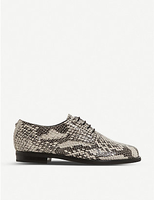 DUNE: Snake-embossed leather flats