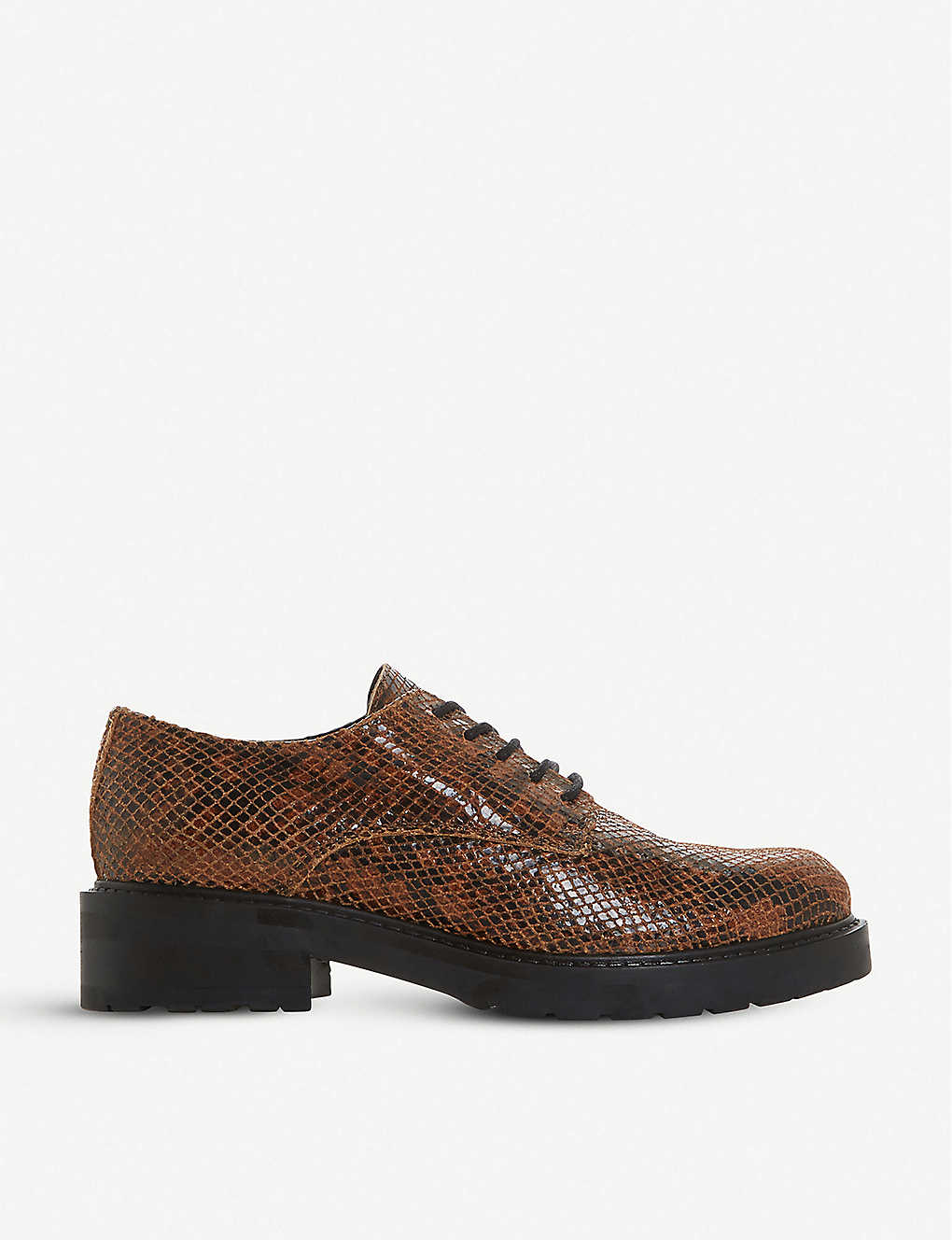DUNE: Fearce lace-up croc-effect leather brogues
