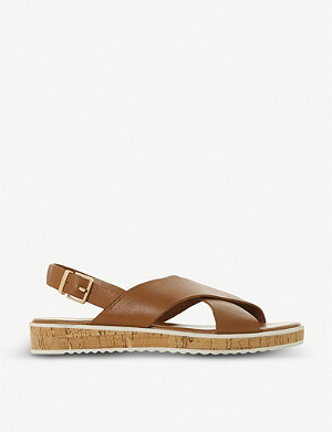 DUNE Lorde cross-strap leather sandals