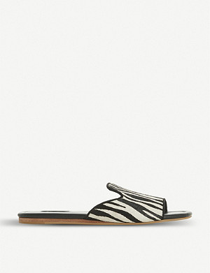 DUNE Liase zebra print leather mule sandals