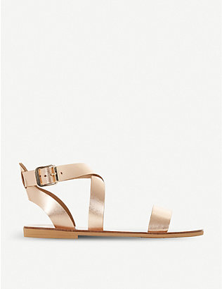 DUNE: Lottiie metallic leather sandals