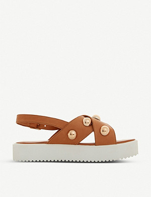DUNE Lamma studded leather flatform sandals