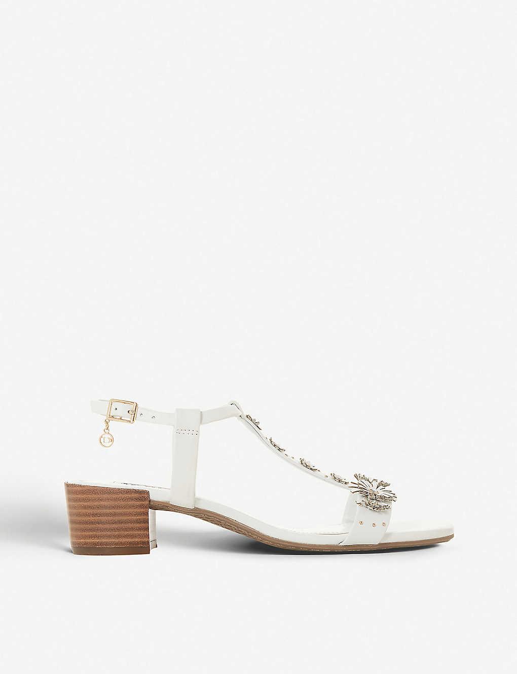 ded83cace0 DUNE - Iyris floral t-bar leather sandals | Selfridges.com