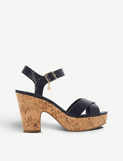 DUNE: Iylene faux-leather platform sandals