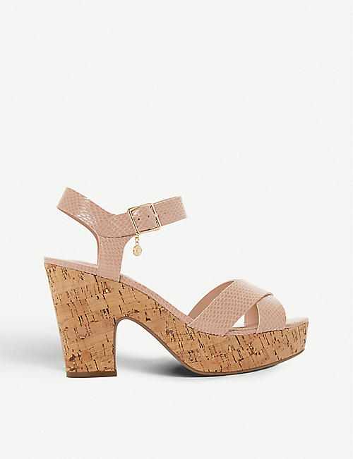 DUNE: Iylene faux-leather heeled sandals