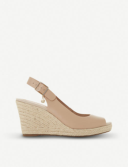 DUNE Kicks leather espadrille wedge sandals