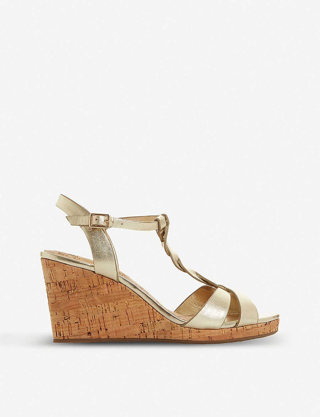 DUNE: Koala T-bar strap cork wedge-heel sandals