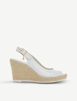 DUNE Knox leather espadrille wedge sandals