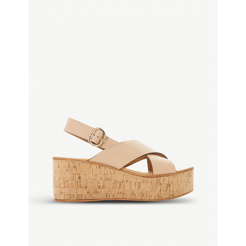 24cce2ba09893 Dune Kati Db Leather Wedge Sandals In Nude-Leather