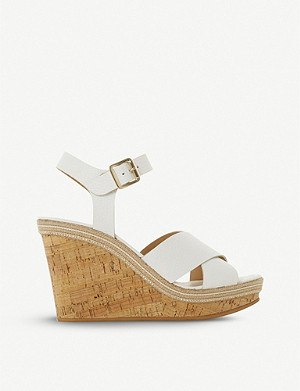 DUNE Karllotta leather cork wedge sandals