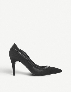 DUNE Brylee patent-trim suede courts