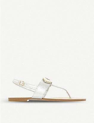 DUNE: Neona metallic-detail sling-back sandals