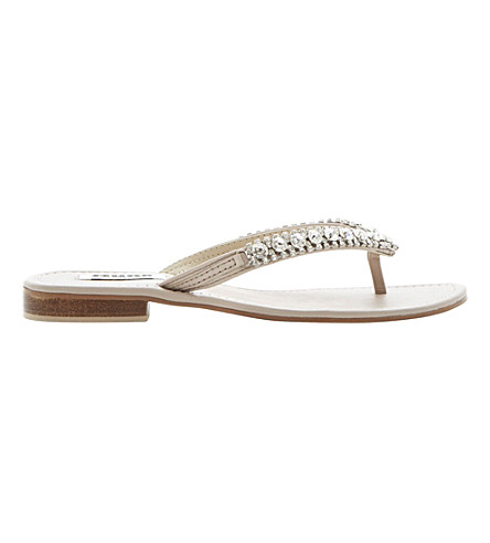 83ebb122db410 DUNE Kiki diamanté flip flops (Pink-leather