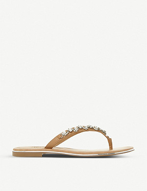 DUNE Newbie embellished leather flip-flops